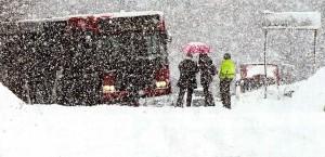Heftiges Schneetreiben am 23.02.15: Busverkehr kam zum Erliegen - entnommen aus RSA: Foto Rohrmoser-von Glasow