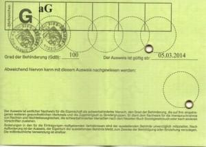 Muster Schwerbehindertenausweis Rückseite
